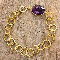 Gold plated amethyst link bracelet, 'Golden Grape' - Fair Trade Bracelet with 24k Gold Plate and Amethyst