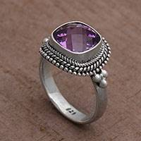 Amethyst cocktail ring, 'Purple Elegance' - Amethyst and Sterling Silver Ring Cocktail Ring from Bali