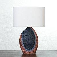 Ceramic table lamp, 'Orange Glow' - Artisan Crafted Ceramic Table Lamp with Jute Shade