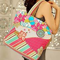 Novica Cotton tote handbag, Gaya Garden - Indian Floral Cotton Tote Bag