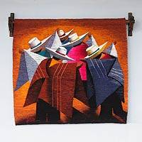 Wool tapestry, 'Walking and Talking' - Handwoven Peruvian Wool Tapestry