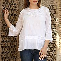 Cotton tunic, 'Summer Cool' - 100% Cotton Embroidered Lacy Tunic from India
