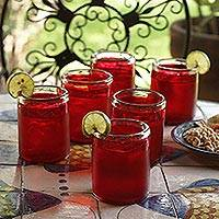 Tumblers, 'Ruby Style' (set of 6) - Mexican Hand Blown Drinking Glasses Red Tumblers Set of 6