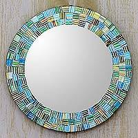 Glass mosaic mirror, 'Aqua Trellis' - Artisan Crafted Round Glass Mosaic Mirror in Aqua