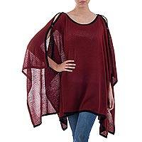 Poncho, 'Peruvian Roots' - Knit Burgundy Poncho with Black Trim from Peru