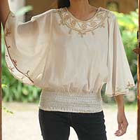 Cotton blouse, 'Cool Day' - Artisan Crafted Cotton Embroidered Blouse