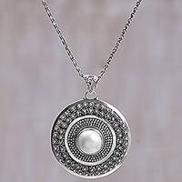 Cultured mabe pearl pendant necklace, 'Bundar Moon' - Cultured Pearl Sterling Silver Pendant Necklace Indonesia