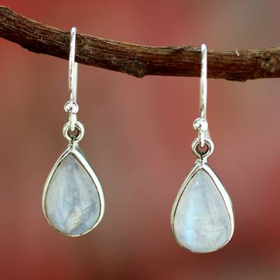 moon silver white moonstone stone sterling shop oval earrings
