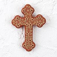 Ceramic wall cross, 'Faithful Floral Vine' - Handcrafted Floral Ceramic Wall Cross from Mexico