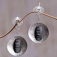Sterling silver and polymer clay dangle earrings, 'Dangling Gong' - Handmade Brass and Polymer Clay Dangle Earrings