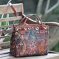 Batik leather handbag, 'Kembang Kawung' - Handcrafted Batik Floral Leather Handle Handbag from Bali