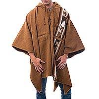 Men's alpaca blend poncho, 'Andes Sierra' - Men's Brown Alpaca Blend Hooded Poncho from Peru