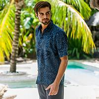 Men's cotton batik shirt, 'Pixel Play' - Men's 100% Cotton Navy Short Sleeve Hand Made Batik Shirt