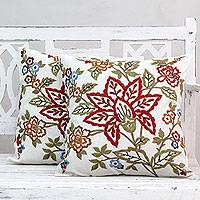 Embroidered cotton cushion covers, 'Jaipur Meadow' (pair) - Embroidered Square Cotton Cushion Covers (Pair)