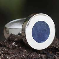 Sodalite cocktail ring, 'Circular Sea' - Sodalite cocktail ring