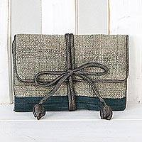 Silk blend jewelry roll, 'Happy Travels in Taupe' - Handwoven Taupe Silk and Rayon Jewelry Roll