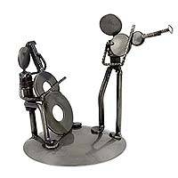 Upcycled auto part sculpture, 'Cello and Violin Duet' - Musician Sculpture of Recycled Spark Plugs and Metal