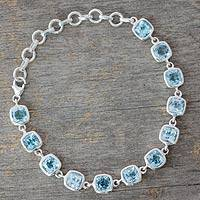 Blue topaz link bracelet, 'Ocean Whisper' - Blue Topaz Bracelet Fair Trade Jewelry