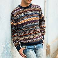 Men's 100% alpaca sweater, 'Colca Melange' - Multicolor Alpaca Men's Sweater with Blue Trim from Peru