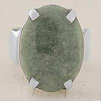 Jade cocktail ring, 'Sweet Green Abstraction' - Apple Green Guatemalan Jade on Handmade Wide 925 Silver Ring
