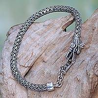 Sterling silver chain bracelet, 'Dragon Tale' - Sterling Silver Wheat Chain Bracelet with Dragon Head Clasp