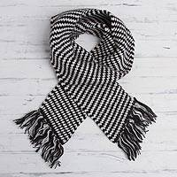 Alpaca blend scarf, 'Wild Andes' - Black and White Alpaca Blend Fringed Striped Scarf from Peru