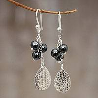 Hematite dangle earrings, 'Night Forest' - Handmade Silver Hematite Earrings