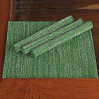 Cotton placemats, 'Emerald Nature' (set of 4) - Hand Made Natural Fiber Placemats (Set of 4)