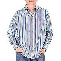 Men's cotton shirt, 'Tikal Sky' - Men's Aqua Striped Long Sleeved Shirt of Handwoven Cotton