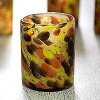 Blown glass rock glasses, 'Amber Fantasy' (set of 6) - Set of 6 Hand Blown Amber Polka Dot 10 oz Rock Glasses