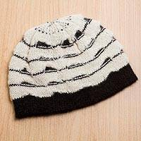 Alpaca blend hat, 'Andean Winter' - Alpaca Wool Hat Antique White and Black Knitted in Peru