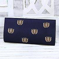 Embroidered clutch, 'Gorgeous Lotus' - Embroidered Clutch Handbag in Navy from India