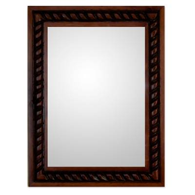 Mirror, 'Colonial Baroque' - Artisan Hand Carved Wood Wall Mirror