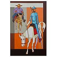'Don Quixote' - Signed Cubist Painting of Don Quixote from Brazil