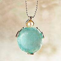 Roman glass and cultured pearl necklace, 'Roman Empire' - Roman Glass and Cultured Pearl Pendant Necklace