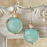 Roman glass and cultured pearl earrings, 'Roman Empire' - Roman Glass and Cultured Pearl Drop Earrings