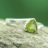 Peridot solitaire ring, 'Scintillating Jaipur' - Solitaire Peridot Ring Crafted in Sterling Silver