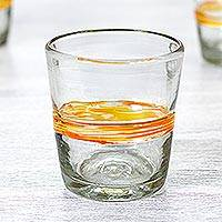 Blown glass rocks glasses, 'Ribbon of Sunshine' (set of 6) - Mexico Artisan Handblown Glass Striped Tumbler Drinkware