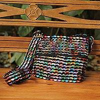 Soda pop-top shoulder bag, 'Carnaval in Black' - Black Shoulder Bag Crocheted of Multi-Color Pop Tops