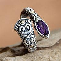 Amethyst wrap ring, 'Budding Lily' - Artisan Crafted Sterling Silver an Amethyst Wrap Ring