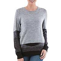 Pullover sweater, 'Imagine in Grey' - Grey and Black Striped Pullover Sweater from Peru