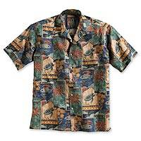 Featured review for Mens cotton travel shirt, Aloha