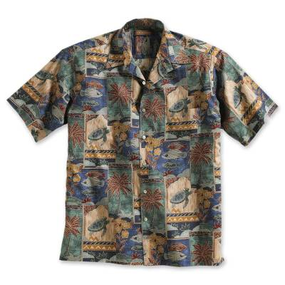 Men's cotton travel shirt, 'Aloha' - Men's Short Sleeved Cotton Aloha Travel Shirt