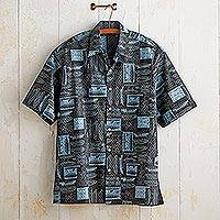 Men's cotton travel shirt, 'Mariner' - Men's Mariner Cotton Button-Up Travel Shirt