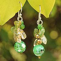 Pearl and peridot cluster earrings, 'Verdant Love' - Handcrafted Thai Dangle Earrings