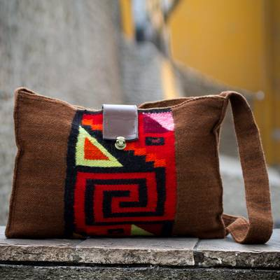 68656791a Alpaca blend shoulder bag, 'Inca Enigma' - Alpaca blend shoulder bag
