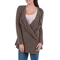 Alpaca cardigan, 'Chocolate Boucle' - Brown Loose Fit Alpaca Blend Long Cardigan from Peru