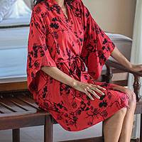 Women's screen print robe, 'Red Empress' - Women's Artisan Crafted Red and Black Short Robe