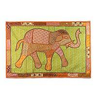 Patchwork wall hanging, 'Astounding Elephant' - Recycled Patchwork Elephant Wall Hanging from India