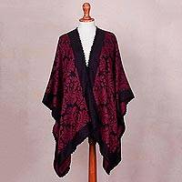 Reversible alpaca blend ruana cloak, 'Ruby Fern Forest' - Alpaca Blend Reversible Black and Red Ruana Cape